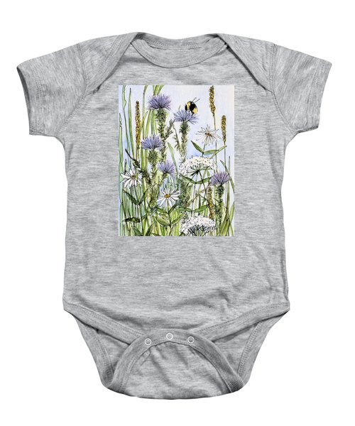 Thistles Daisies And Wildflowers Baby Onesie