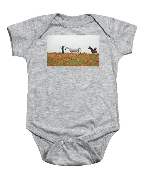 Three At The Poppies' Field Baby Onesie by Dubi Roman