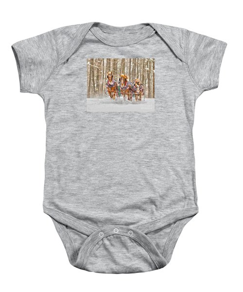 Three Horses Running Baby Onesie