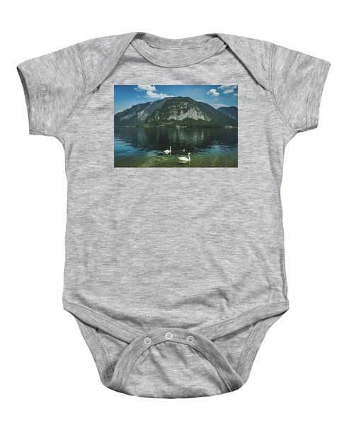Three Lake Hallstatt Swans Baby Onesie