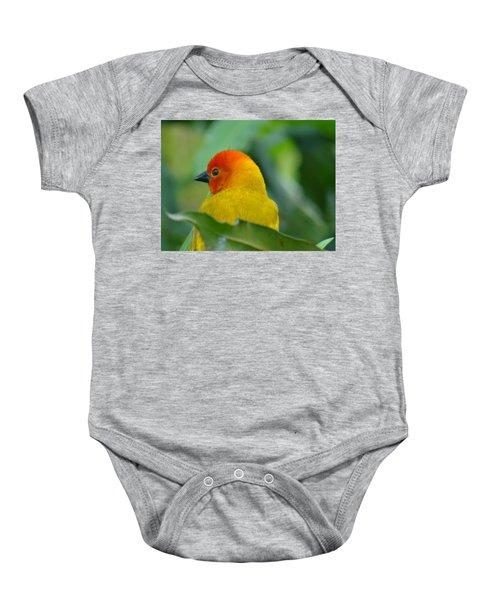Through A Child's Eyes - Close Up Yellow And Orange Bird 2 Baby Onesie
