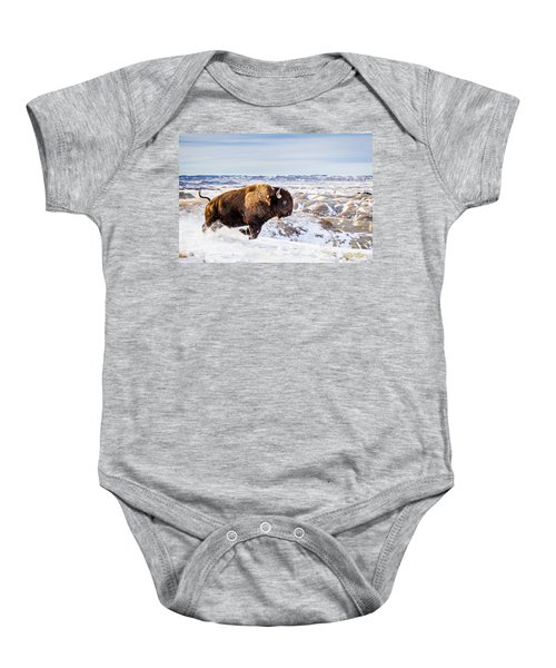 Thunder In The Snow Baby Onesie by Rikk Flohr