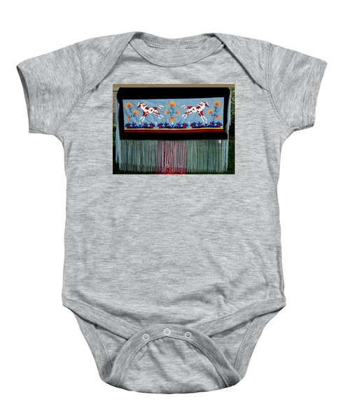 Baby Onesie featuring the tapestry - textile Thunder Pony by Chholing Taha