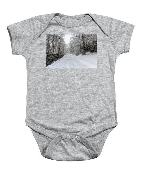 Tire Tracks In Fresh Snow Baby Onesie