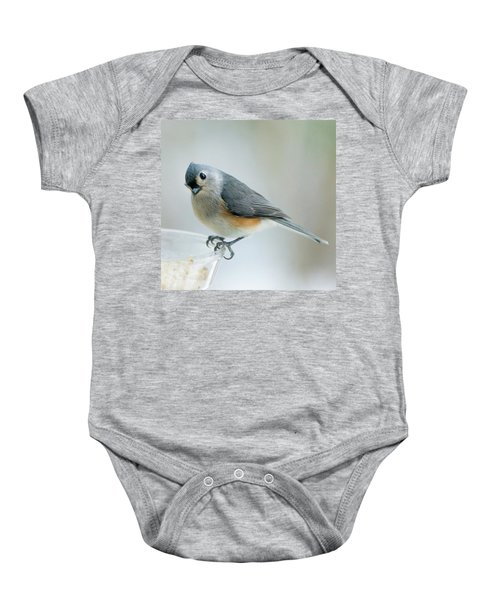 Titmouse With Walnuts Baby Onesie