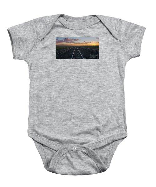 Tracks Into Sunset Baby Onesie