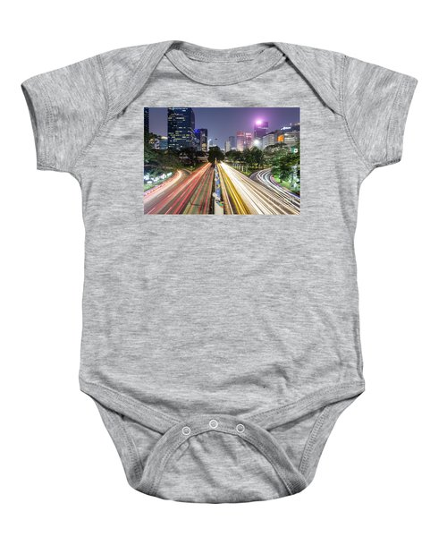 Traffic Night Rush In Jakarta, Indonesia Capital City.  Baby Onesie