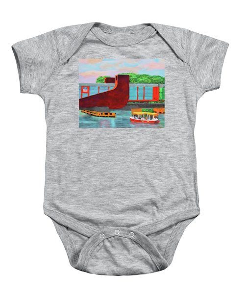 Train Over The New River Baby Onesie