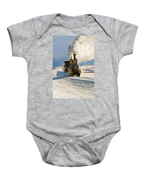 Train In Winter Baby Onesie