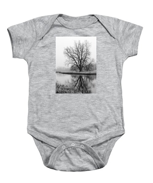 Tree Reflection In The Fox River On A Foggy Day Baby Onesie