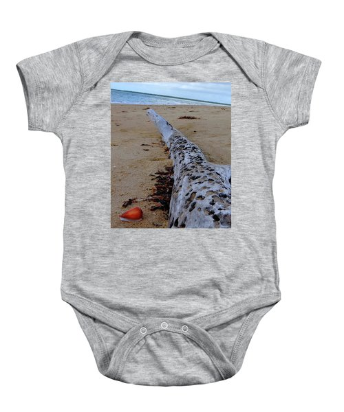 Tree Trunk And Shell On The Beach Full Size Baby Onesie by Exploramum Exploramum