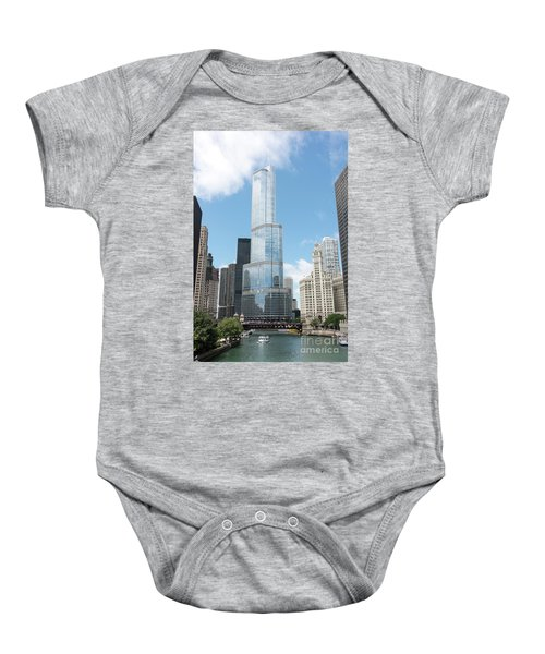 Trump Tower Overlooking The Chicago River Baby Onesie