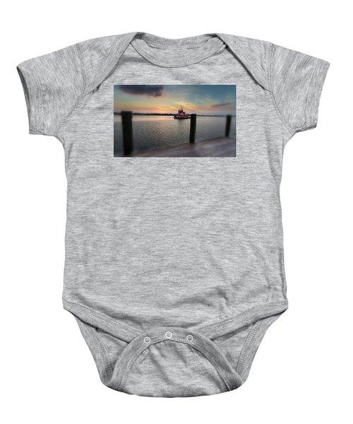 Tug Boat Sunset Baby Onesie