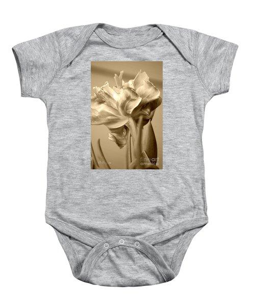 Tulips In Sepia Baby Onesie