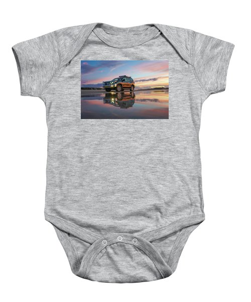 Twilight Beach Reflections And 4wd Car Baby Onesie