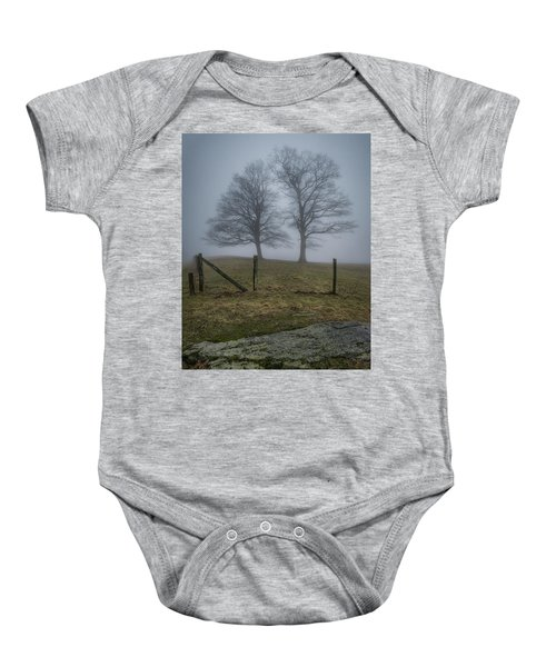Twin Trees Late Fall Foggy Morning Baby Onesie