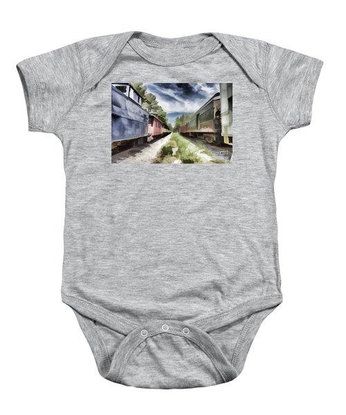 Twixt The Trains Baby Onesie