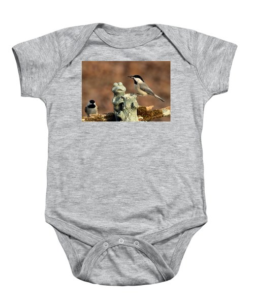 Two Black-capped Chickadees And Frog Baby Onesie