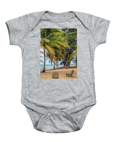 Two Chairs In Belize Baby Onesie