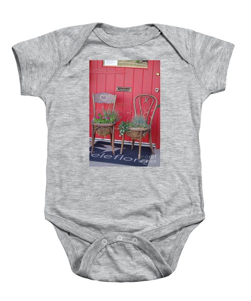 Two Chairs With Plants Baby Onesie