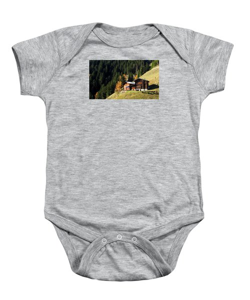 Two Chalets On A Mountainside Baby Onesie