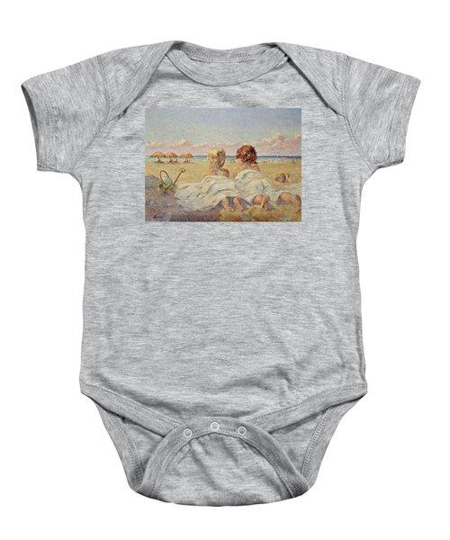 Two Children On The Beach Baby Onesie