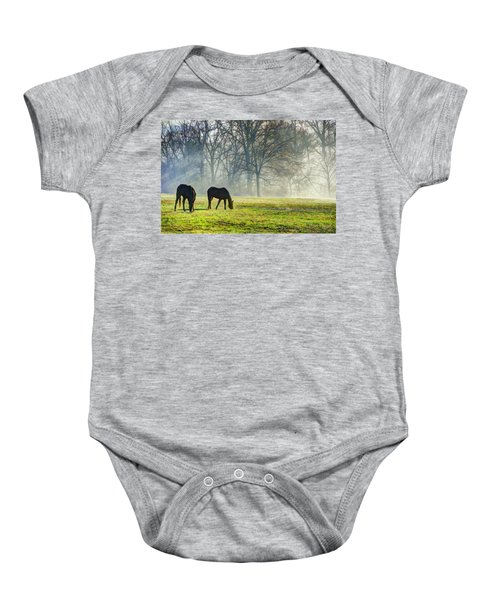 Two Horse Morning Baby Onesie