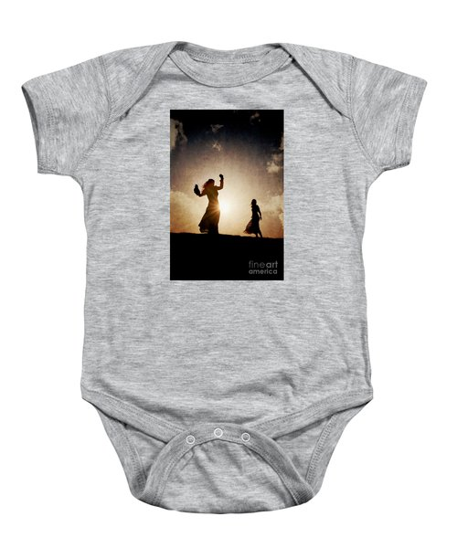 Two Women Dancing At Sunset Baby Onesie