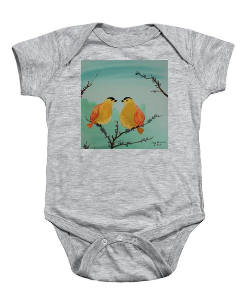 Two Yellow Chickadees Baby Onesie