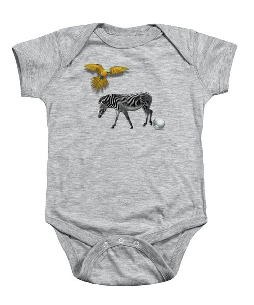 Two Zebras And Macaw Baby Onesie by iMia dEsigN