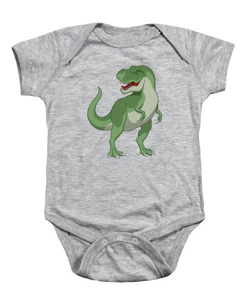 Tyrannosaurus Rex Dinosaur Green Baby Onesie