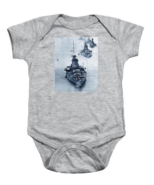 Hms Nelson And Hms Rodney Battleships And Battlecruisers Hms Hood Circa 1941 Baby Onesie