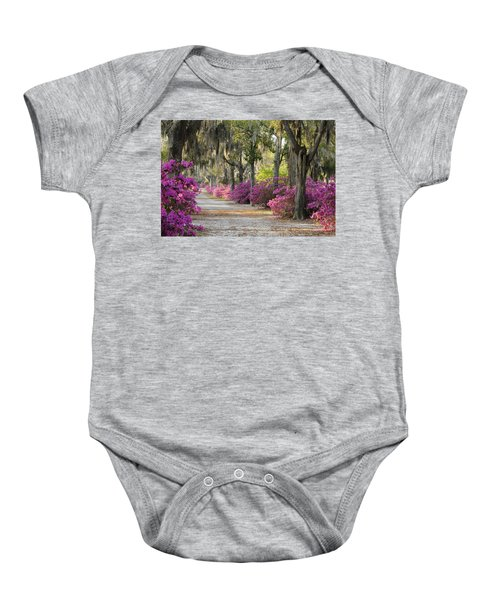Unpaved Road With Azaleas And Oaks Baby Onesie
