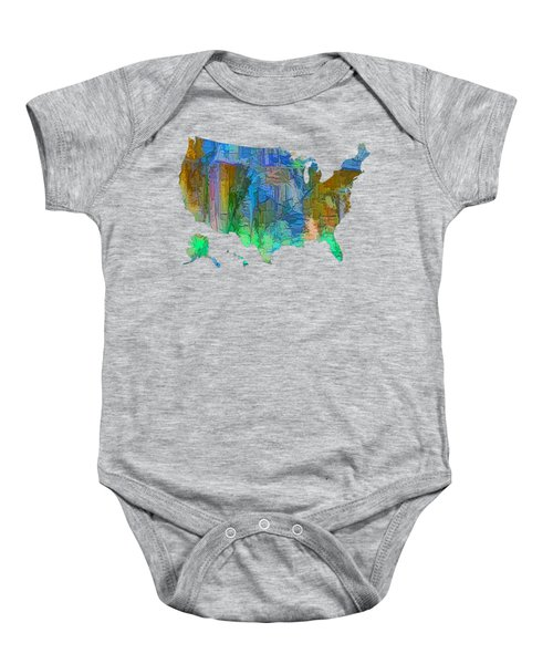 Usa - Colorful Map Baby Onesie