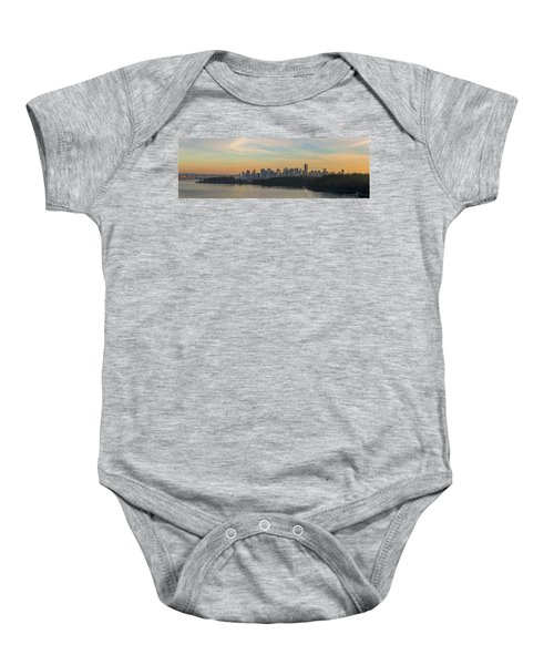 Vancouver Bc Skyline Along Stanley Park At Sunset Baby Onesie