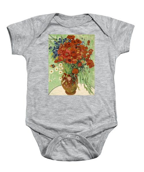 Baby Onesie featuring the painting Vase With Daisies And Poppies by Van Gogh