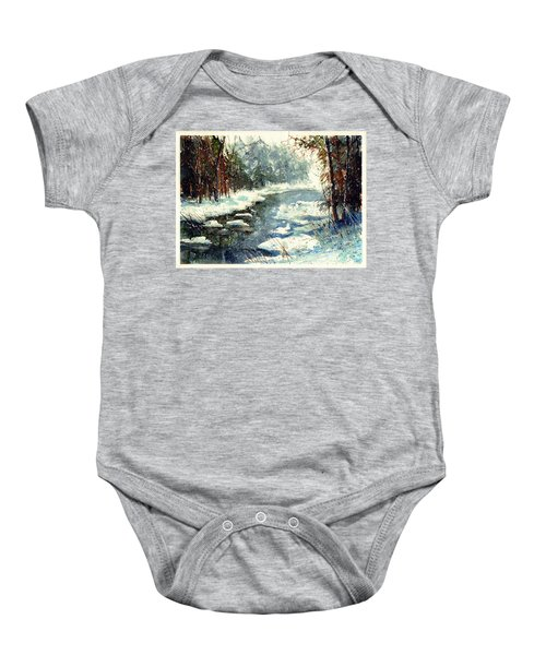 Very Cold Winter Watercolor Baby Onesie