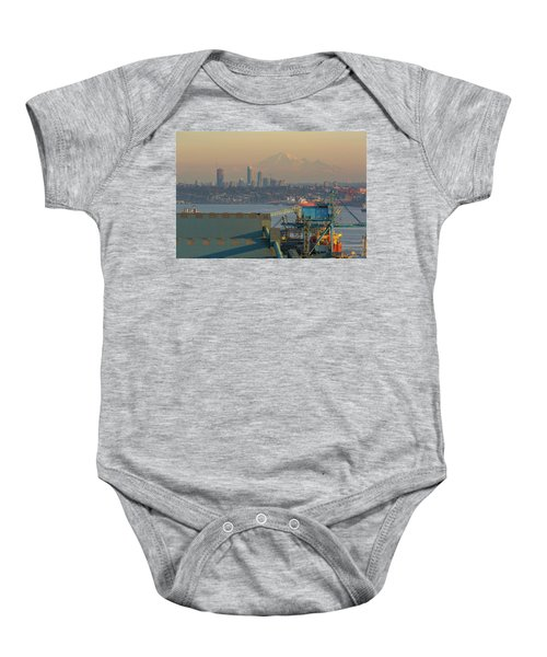 View Of Mount Baker And Vancouver Bc At Sunset Baby Onesie