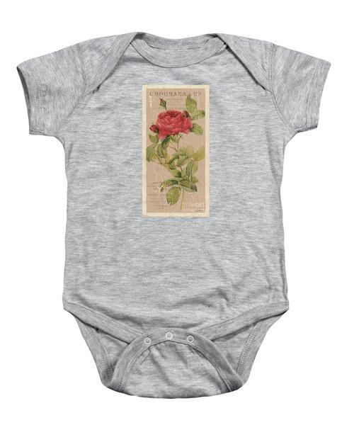 Vintage Burlap Floral Baby Onesie
