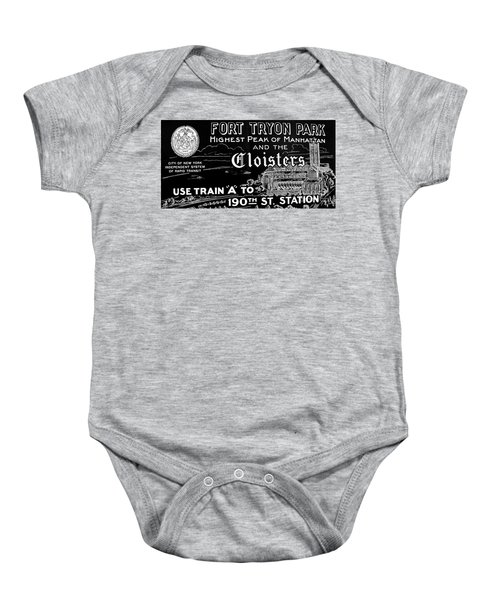 Vintage Cloisters And Fort Tryon Park Poster Baby Onesie by Cole Thompson