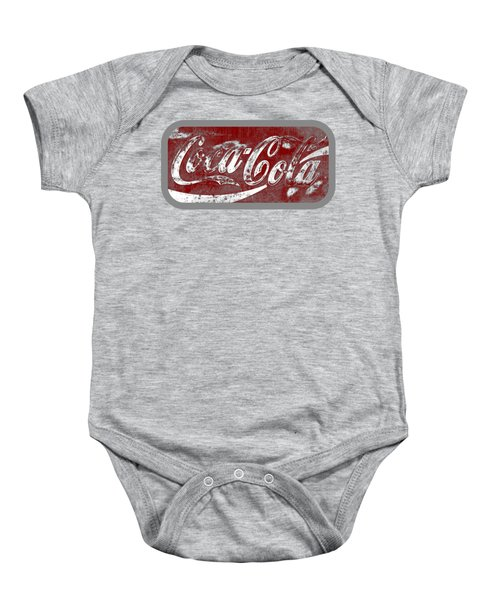 Coca Cola Red And White Sign Gray Border With Transparent Background Baby Onesie