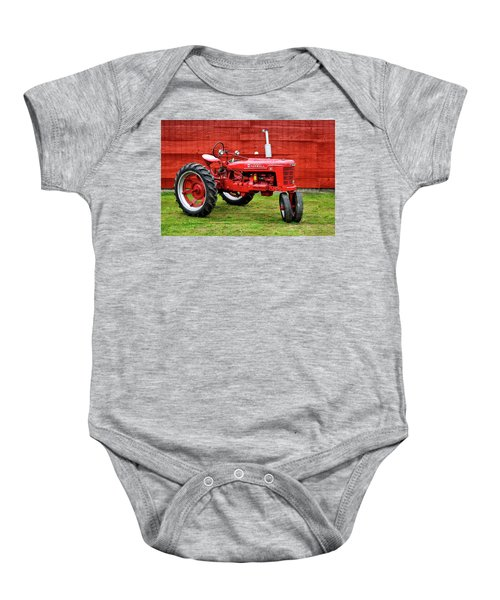 Vintage Farmall Tractor With Barnwood Baby Onesie