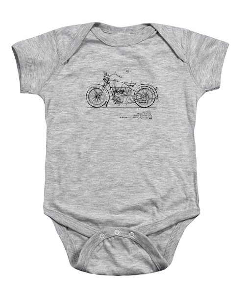 Vintage Harley-davidson Motorcycle 1928 Patent Artwork Baby Onesie by Nikki Smith