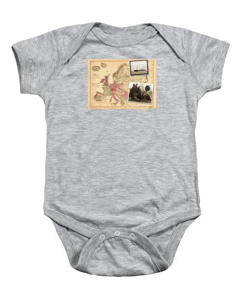 Vintage Map Europe To New York Baby Onesie