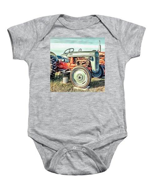 Vintage Tractors Pei Square Baby Onesie