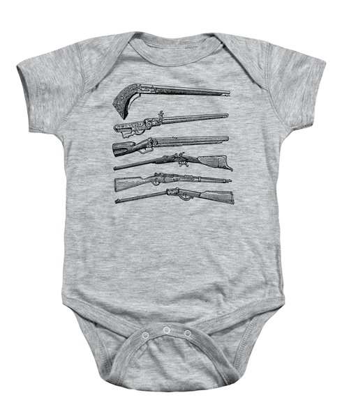 Vintage Weapons Antique Guns Dictionary Art Baby Onesie