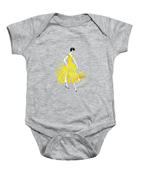 Vintage Yellow Dress Baby Onesie