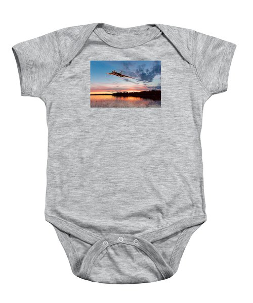 Baby Onesie featuring the digital art Vulcan Low Over A Sunset Lake by Gary Eason