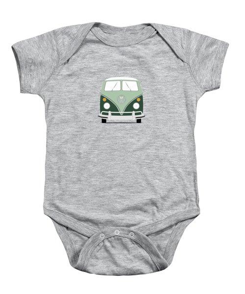 Vw Bus Green Baby Onesie by Mark Rogan