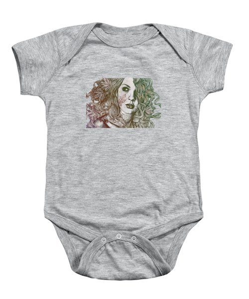 Wake - Autumn - Street Art Woman With Maple Leaves Tattoo Baby Onesie